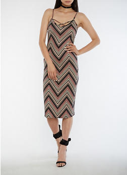 Sleeveless Printed Midi Dress with Caged Back - 3410072241656