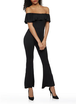 Off the Shoulder Jumpsuit with Ruffle Overlay - BLACK - 3410072241675