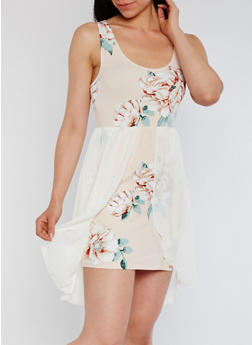 Printed Tank Dress with Chiffon Overlay - SAGE BLUSH - 3410072241749
