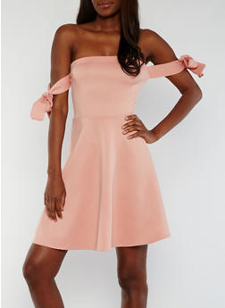 Off the Shoulder Skater Dress with Tie Sleeves - 3410072241789
