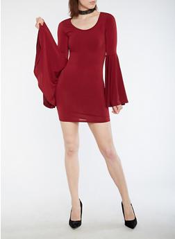 Bell Sleeve Bodycon Dress - 3410072241907