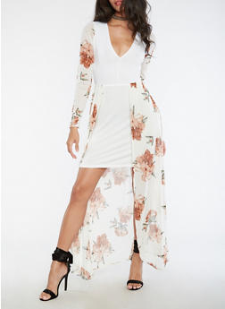 Long Sleeve Solid Dress with Floral Maxi Overlay - 3410072241979