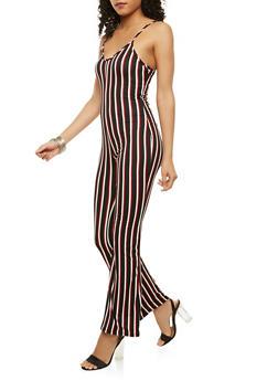 Striped Flared Leg Jumpsuit - 3410072242446