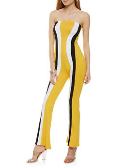 Soft Knit Striped Strapless Jumpsuit - 3410072242458