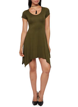 Asymmetrical T-Shirt Dress with Removable Choker - 3410072248828