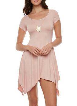 Asymmetrical Dress with Necklace - 3410072249828