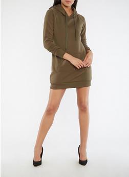 Fleece Hooded Sweatshirt Dress - 3410072290521