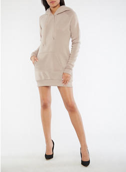 Fleece Hooded Sweatshirt Dress - 3410072290521