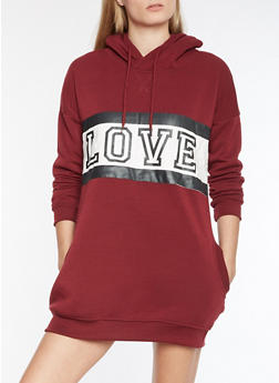 Love Graphic Sweatshirt Dress - 3410072292101