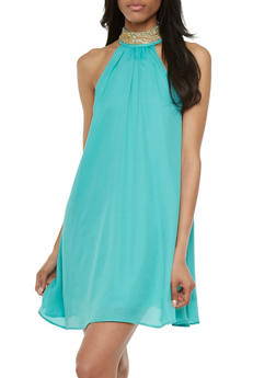 Shift Dress with Chain Accents at Neck - 3410072613115
