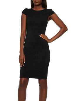 Scoop Back Bodycon Dress with Cap Sleeves - BLACK - 3410072614070