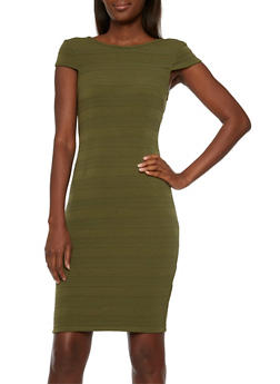 Scoop Back Bodycon Dress with Cap Sleeves - 3410072614070