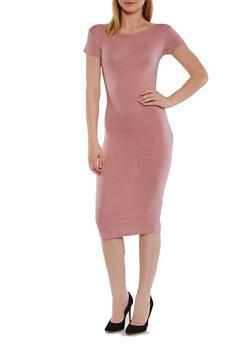 Short Sleeve Caged Back Midi Dress - 3410073131103