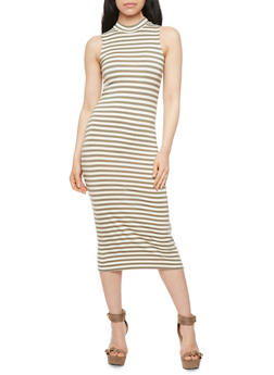 Striped Bodycon Dress with Mock Neck - 3410073131983