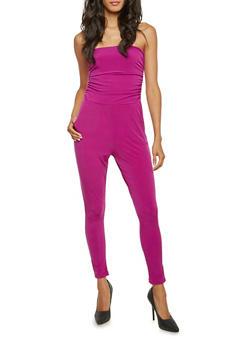 Strapless Jumpsuit with Ruched Bodice - MAGENTA - 3410073301132