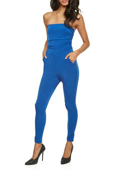 Strapless Jumpsuit with Ruched Bodice - ROYAL - 3410073301132