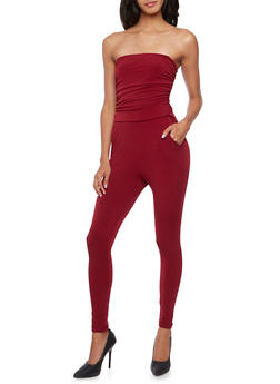 Strapless Jumpsuit with Ruched Bodice - BURGUNDY - 3410073301132