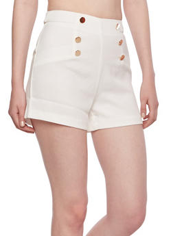 High-Waisted Shorts with Sailor Buttons - 3411035044196