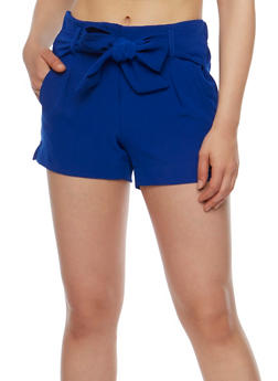 Pintuck Shorts with Tie Waist - 3411056573212