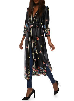 Belted Floral Satin Kimono - 3414054211058