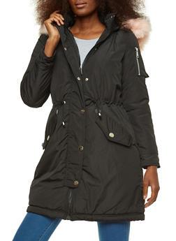 Faux Fur Trim Hooded Jacket - 3414054211062