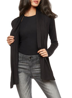 Pleated Long Sleeve Cardigan - 3414054212427