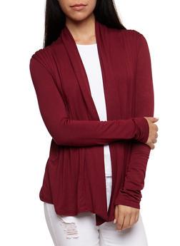 Pleated Long Sleeve Cardigan - 3414054212427