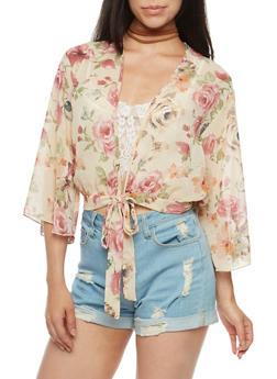 Tie Front Floral Kimono - 3414054263572