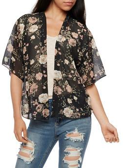 Floral Kimono - BLACK - 3414061351251