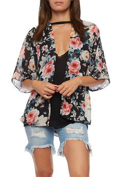 Floral Printed Kimono - 3414061351254