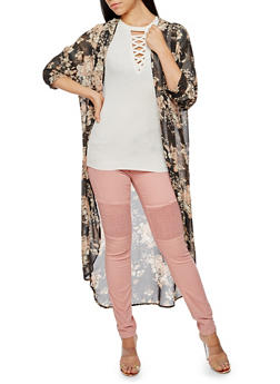 Floral Chiffon Duster - 3414061352665