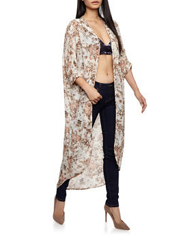 Floral Chiffon Duster - IVORY - 3414061352665