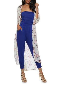 Rose Print Chiffon Kimono Duster - 3414061354219