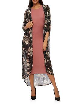 Long Floral Kimono - BLACK - 3414061354262