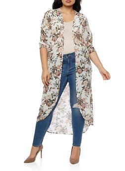 Long Floral Kimono - 3414061354262