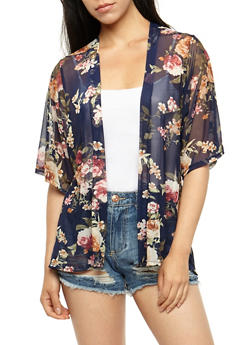 Floral Mesh Kimono - 3414061354281