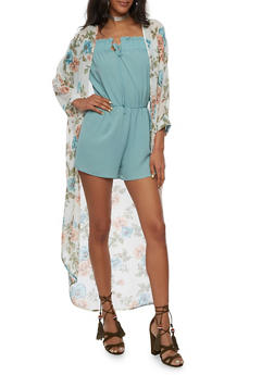 Floral Chiffon Short Sleeve Duster - 3414061354612