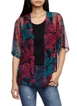 Floral Print Mesh Kimono - FUCHSIA - 3414061355243