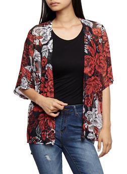 Floral Print Mesh Kimono - CORAL - 3414061355243