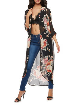 Long Floral Chiffon Kimono - 3414061356143