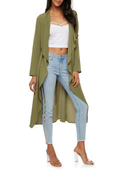 Textured Knit Belted Duster - 3414062700854