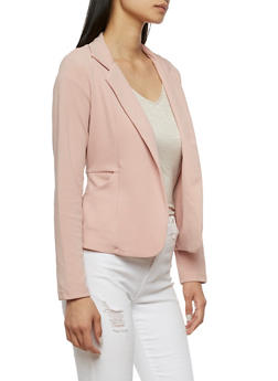 Crepe Knit Blazer with Pockets - MAUVE - 3414062704012