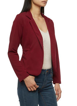 Crepe Knit Blazer with Pockets - BURGUNDY - 3414062704012