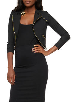 Long Sleeve Moto Blazer - BLACK - 3414062704018