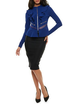 Ruffle Zip Blazer with Mesh Inserts - 3414062704019