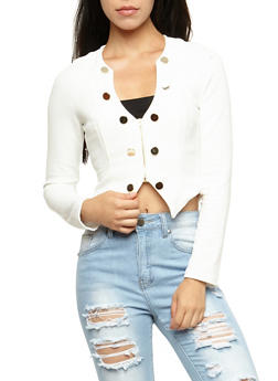 Military Cropped Blazer - WHITE - 3414062706529
