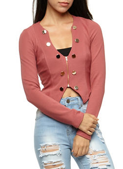 Military Cropped Blazer - MAUVE - 3414062706529