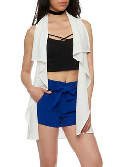 Sleeveless Belted Flyaway Duster - OFF WHITE - 3414062709885