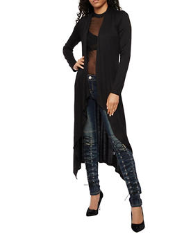 Long Sleeve Solid Duster - BLACK - 3414066493098