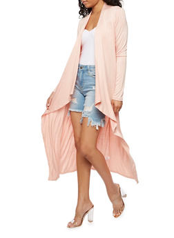 Long Sleeve Solid Duster - ROSE PINK - 3414066493098